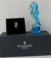 "WATERFORD CRYSTAL 7"" SEAHORSE FIGURINE OCEAN BLUE ~NEW IN ORIGINAL BOX"