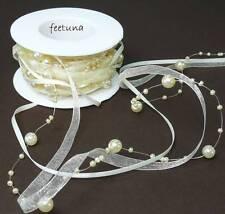7,5m Perlengirlande (1,33 €/m) Perlen Organzaband Satinband Schleifenband creme