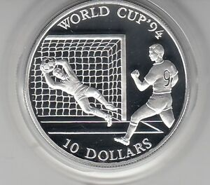 Cook Islands 10 Dollar 1992 Football World Cup 1994 Silver Pp