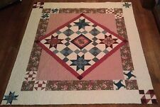 Joann Pink & Brown Vintage Treasure 73 x 85 Handmade Patchwork queen size quilt