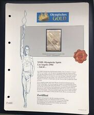 Olympics Los Angeles 1984 USA Gold stamps 99,8% Goldauflage* Only 4.999 MNH 6/9