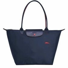 New Longchamp Le Pliage 1899 Nylon Tote Bag Horse Embroidery Large Navy Handbag