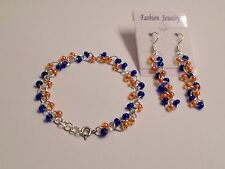 Florida gator Czech glass bead chainmaille bracelet earring set sterling silver