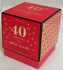 40th Birthday Candle - White Vanilla - Boxed Gift - Brand New