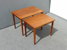 Pair Vintage Danish Mid Century Modern NESTING TABLES w Handles