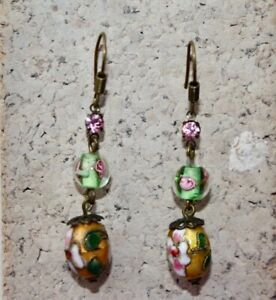 Murano Glass and Cloisonne Drop Earrings