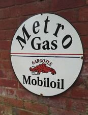 "Mobil Oil enamel sign Metro Gas Mobiloil sign 25"" Gargoyle porcelain sign"