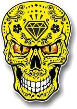 Realistic Mexican Sugar Skull Yellow & Black + Evil Eyes car bike sticker Decal