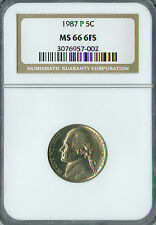 1987-P JEFFERSON NICKEL NGC MS-66 FS 2ND FINEST GRADED SPOTLESS.