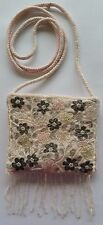 Light Pink Beaded Evening Casual Hand Bag Purse Shoulder Strap Magnetic Clasp