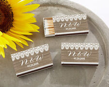 50 Rustic Country Burlap Lace Personalized Match Box Bridal Wedding Favors
