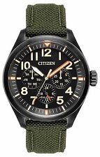 *BRAND NEW* CITIZEN ECO-DRIVE WATCH CHANDLER BLACK DIAL GREEN STRAP BU2055-16E