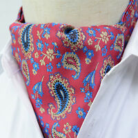 LJ01-06 Red Blue Gold Paisley Mens 100% Silk Cravat Ascot Tie Self Tied Scarve