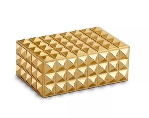 NIB (L'objet Inspired) Gold Pyramid Studded Stud Decorative Box