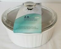 Corning Ware French White F-1-B 2.5 Quart Round Casserole Dish with New Lid USA