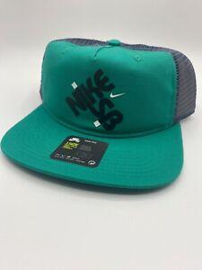 Nike SB Pro Snapback Neptune Green Skate Trucker Hat NEW CQ9268-370 One Size