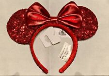 Disney Parks Redd Pirate Red Sequins Minnie Mouse Ears Bow Headband - New