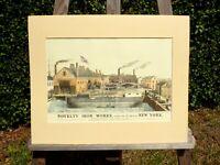 alter Reklame Druck Bild hinter Passepartout Stahlindustrie New York 50x40cm 45