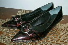 Jessica Bennett Women's Brown Kitten Heels Loafer Patent Shoes Size 7.5 M