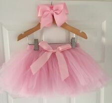 Baby Girls Pink Ballet Dance Tutu Skirt & Bow Set 1st First Birthday Cake Smash