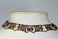 VICTORIAN ANTIQUE DOG COLLAR CHOKER PURPLE AMETHYST NECKLACE