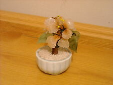 SMALL PINK & GREEN GLASS 'FLOWER TREE' IN ROUND CHINA POT