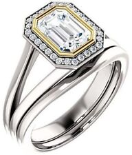 1.13 carat Emerald & round cut DIAMOND Halo Engagement 14k Two-tone Gold Ring