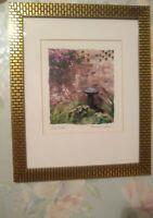 """Maureen Love Original Art Print """"Bird Bath"""" Matted and Framed in Gold Brick"""