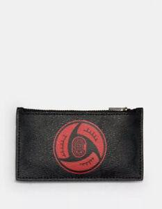 NWT Coach 7351 X MBJ Naruto Zip Card Case In Black Signature Canvas $128