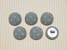 6 Country Dots Fabric Covered Buttons - Blue (20mm)