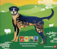 New Zealand NZ 2018 MNH FDC Year of Dog 4v Set M/S Presentation Pack Stamps