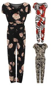 Women's Cowl Neck Sleeveless Floral Print Pocket Belt Pants Jumpsuit 14-28