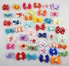 20pcs Multicolor Mix Pet Dog Hair Bow Pearl Flowers Rubber Bands
