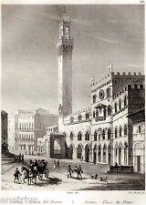 Siena: Piazza del Campo. Toscana.Audot.Acciaio.Stampa Antica + Passepartout.1834