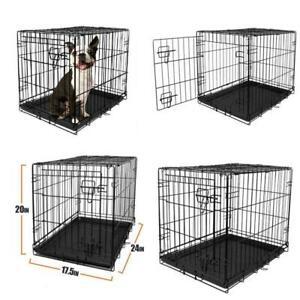 Dog Crate Wire Cage Single-Door Extra-Small Folding Compact Lock Latches 24 in