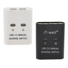 USB Sharing Switch KVM Switcher Adapter Box 2Ports Hub for Printer Scanner