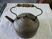 "Late 1800's Primitive Western Copper Tea Kettle Wood Handle 12"" X 12"" X 9"""