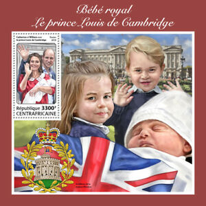 Central African Rep Royalty Stamps 2018 MNH Prince Louis William & Kate 1v S/S