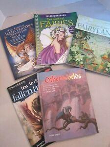 5 Drawing Books. Fairyland Ravenscroft, Fallen Angels Butkus, Other Worlds Kidd