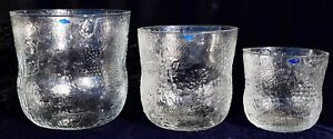 Vintage retro Nuutajarvi Fauna glass bowl set of three Oiva Toikka Finland