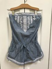 NWT Hollister Womens Strapless Chambray Romper Size XS