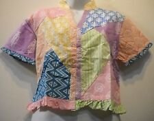 SACRED THREADS PATCH FUNKY COTTON FRILLY RUFFLE TOP M Check measuremnt FREE SHIP