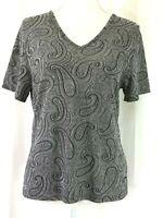 KATHY IRELAND knit top PETITE MEDIUM gray black plaisley short sleeves (J898)