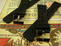 18mm LOT 2 BLACK DIVE NOS RALLY DIVERS WATCH BANDS RUBBER STRAP STEEL BUCKLE