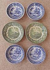 4 Vintage Staffordshire Liberty Blue & 2 H. Aynsley 'English Heritage' Green Sou
