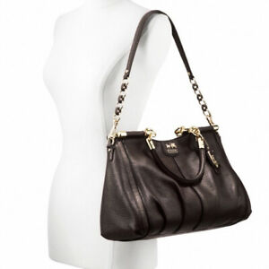 NWT COACH Madison Pinnacle Espresso Textured Leather Carrie Satchel Bag $658 NEW