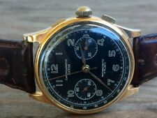 Chronographe Suisse 18K Solid Rose Gold 37mm Chronograph Black Dial Landeron 48