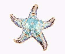 Jeweled Starfish Trinket Box by Ciel Collectables Blue Enamel Austrian Crystal