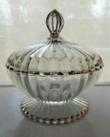 Jeannette Glass Clear Gold Edge National Footed Candy Box Bowl with Cover