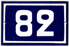 Old blue French house number 82 door gate plate plaque enamel steel metal sign